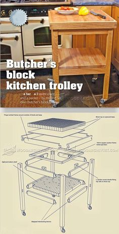 Butchers Block Kitchen Trolley Plans - Furniture Plans and Projects   WoodArchivist.com