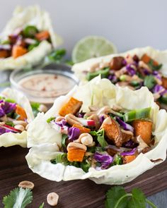 Thai Peanut Sweet Potato Cabbage Cups | Dishing Up the Dirt | Bloglovin