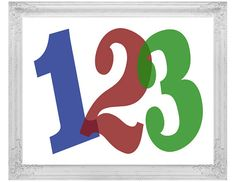 Numbers Print, Colorful Wall Decor, 123 Kid's Nursery Art, Children's Instant Download