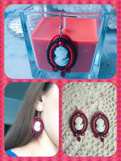 Soutache earrings rękodzieło Black & red