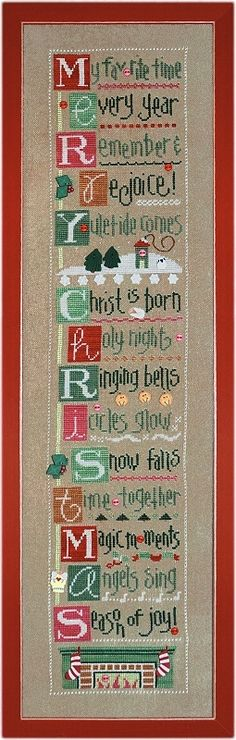 Christmas by the Letter--cross stitch by Lizzie*Kate w/ JABC buttons..