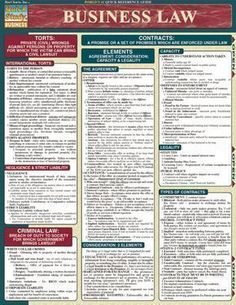 Business Law Laminated Reference Guide #mba #CollegeInfographics #onlinemathprograms