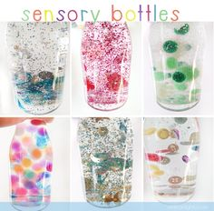 DIY sensory bottles - white glycerine (or baby oil) and water and stuff! (from a little delightful) DIY sensory bottles - white glycerine (or baby oil) and water and stuff! (from a little delightful) Sensory Table, Sensory Bins, Sensory Activities, Sensory Play, Infant Activities, Activities For Kids, Baby Sensory Bottles, Sensory Bottles For Toddlers, Glitter Sensory Bottles