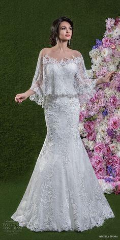 amelia sposa 2018 bridal strapless sweetheart neckline full embellishment elegant mermaid wedding dress with caplet chapel train (giuletta) mv -- Amelia Sposa 2018 Wedding Dresses