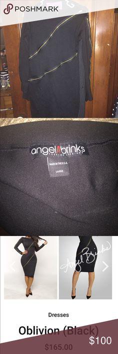 """Black Angel Brinks """"Oblivion"""" dress Cute zipper detail Angel Brinks  Dresses Long Sleeve"""