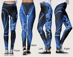 Fancy Leggings with Wrapped Obverse Side of a Blue 2 EUR Coin