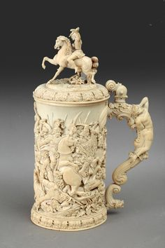 A carved ivory tankard, Germany circa 1880 German Beer Steins, The Saleroom, Sculpture Art, Amazing, Objects, Germany, Auction, Ivory, Carving