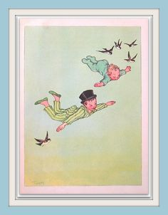 Peter Pan The Children Fly to Neverland by mysunshinevintage