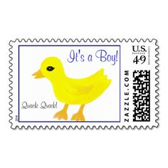 "Adorable Quack Quack ""It's a Boy"" Yellow Baby Rubber Ducky custom Postage Stamps.  See store for It's a Girl written in pink.  CLICK on store link to see matching accessories & design in pink for a baby girl:  Thank You Notes, real custom Postage Stamps, Cake Pops, Disposable Napkins, Party Favor Gable boxes, etc.  Original Graphic Art Hand-Painted Digital design by TamiraZDesigns via:  www.zazzle.com/tamirazdesigns*"