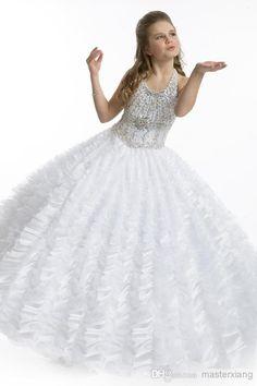 Big Ball Gown Tull White Halter Beads First Communion Dress Flower Girls Cleaning Dress Kid Children Big Girl Wedding Pageant Gowns 1475