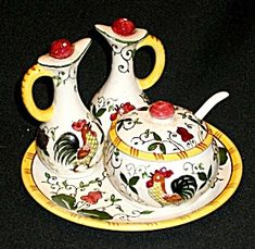 rooster and  roses | Rooster and Roses (Early Provincial) Condiment Set (Image1)