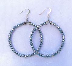 A personal favorite from my Etsy shop https://www.etsy.com/listing/453334600/silver-metallic-crystal-hoop-earrings