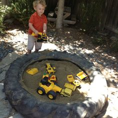 Tractor tire sand box at my grandma and grandpa's. At home, dad made me a sandbox. Spent many hours in the sandbox.