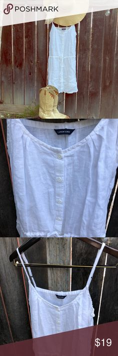 """Lands End White Linen Spaghetti Strap Dress This one has the air of a """"purity"""" look - it's so comfortable and because you can't go wrong with white, you might find yourself creating opportunities to wear it. Give credit to the simple shift style and the airy, elegant linen fabric. Machine or hand wash. Pre-loved. No stains. No holes. Excellent Condition. Lands' End Dresses Midi"""