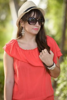 ASfashionlovers: Coral mood About Me Blog, One Shoulder, Coral, Posts, Mood, Blouse, Women, Fashion, Moda