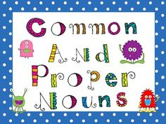 Common Noun Proper Noun Game Freebie