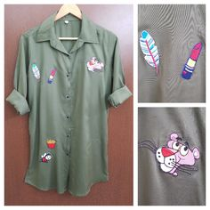 In store now: Patched - Summery..., visit http://ftfy.bargains/products/patched-summery-front-full-buttoned-military-green-shirt-dress-short-tunic-pink-panther?utm_campaign=social_autopilot&utm_source=pin&utm_medium=pin  #amazing #affordable #fashion #stylish