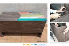 Outdoor Storage Bench DIY Step by Step Tutorial Outdoor Storage Bench Tutorial Wooden Storage Bench, Diy Bench, Outdoor Storage, Outdoor Furniture Plans, Pallet Furniture, Painted Furniture, Recycled Pallets, Wooden Pallets, 1001 Pallets
