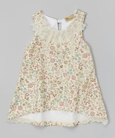 Pink & Turquoise Floral Bib Dress - Girls by Banana Bread Baby on #zulily