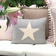 Our pretty Star Patch Cushions feature a raw edged star patch, a hidden zipper fastening, and plain back. These cushions come in a choice of styles, fillers and colours. Made in Britain. Pretty Star, Patches, Cushions, Colours, Throw Pillows, Stars, Bedroom, Britain, Zipper