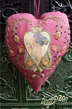 French Valentine sachet... how pretty is this! I am loving embroidery right now.