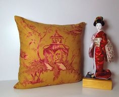 Asian Pillow Cover Designer Pillow Gold by supplierofdreams, $38.00