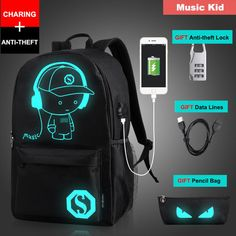 e58ddfe34548 Senkey Style Student School Backpack Anime Luminous Usb Charge Laptop  Computer Backpack For Teenager Anti-Theft Boys School Bag