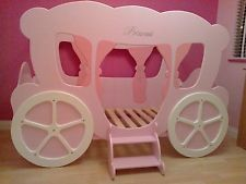 princess bed frame | new girls full size single princess pink bed dream carriage childrens ...