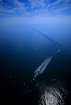 Aerial photo of Chesapeake Bay Bridge-Tunnel, VA  The view is south from over the north beginning of the bridge.  Chesapeake Bay, Virginia, VA  United States, well about 100 miles south of home