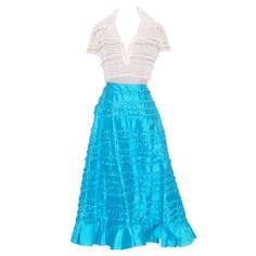 Valentino Turquoise Silk Skirt and Tulle Beaded Top