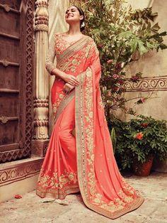 Peach+Color+Embroider+Designer+Party+Wear+Saree   #indianfashion #dress #latepost #australia #indiandesigner #punjabisuit #pakistanifashion #anarkali #indianweddings #punjabiwedding #tamilbride #bridallengha #southasianbrides  #lehenga #pakistan #india #newyork #fashion #designer #kareenakapoor #bridalshower #weddingdress #weddings #henna #inspiration #indian #dubai #southindian #london #shopping