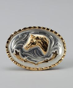 Western Express Mens Horsehead Belt Buckle Silver One Size