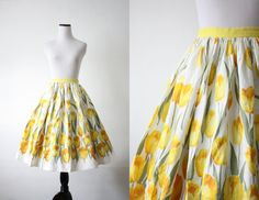 """1950's summer tulip circle skirt - """"flatter your figure with a full circle skirt"""""""