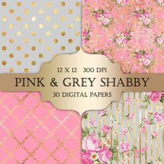 Gold Foil Shabby Chic Digital Papers - pink and grey polka dot stripes damask floral glitter printable backgrounds scrapbooking invitations (4.90 USD) by ItGirlDigital