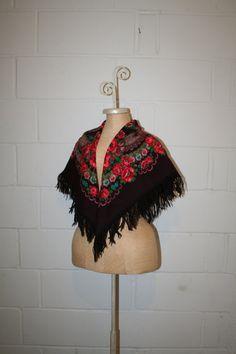 70's fringe floral gypsy scarf