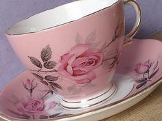 Vintage Pink Bone China teacup and Saucer, Colclough Pink rose tea cup, English…