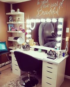 Loving @flawlessfacesbychristielee's not-so-common choice of color for her Glow XL Pro vanity room!  #ownkindofbeauty #damnchristie #repost  Featured: #ImpressionsVanityGlowXLPro in Glossy White with Frosted LED Bulbs Modern Round Tufted Swivel Vanity Chair Ikea Malm Drawers with Linnmon Tabletop