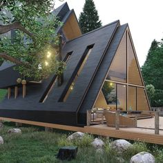 Shed House Plans, A Frame House Plans, Wood Frame House, A Frame Cabin, Cabin Plans, Cabins In The Woods, House In The Woods, Triangle House, Casas Containers