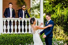 Bride and groom's first look outside the mansion #weddingphotography / from blog.truephotography.com