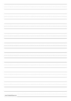 Children learning to print or write cursive can use this dashed paper in school or at home to practice penmanship. It is A4 size and has ten lines per page, in portrait (vertical) orientation. Free to download and print