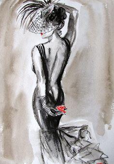 """B&W Original Watercolor """"Sensual tango"""""""
