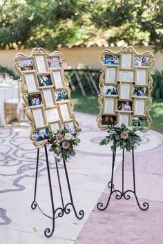 Elegant wedding seating chart idea -  gold vintage picture frames with seating chart, photos of the couple and lush, floral arrangements  {Lucas Rossi Photography}