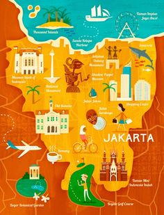 Travel and Trip infographic Travel infographic Map of Jakarta for Garuda Indonesia by Wesley Robins Infographic Description Travel infographic Map of Jakarta for Garuda Indonesia by Wesley Robins – Infographic Source – - Travel Maps, Travel Posters, Travel Icon, Tourism Poster, Travel Illustration, Thinking Day, Map Design, City Maps, Plans