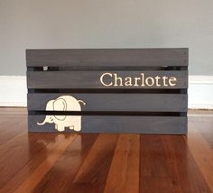 Elephant Nursery Decor, Elephant Nursery Crate, Elephant Baby Decor, Elephant Baby Bin, Elephant Toy Bin by TishieMDesigns on Etsy https://www.etsy.com/listing/179564973/elephant-nursery-decor-elephant-nursery