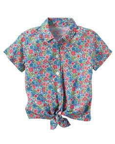 Kid Girl Floral Tie-Front Top from Carters.com. Shop clothing & accessories from a trusted name in kids, toddlers, and baby clothes.