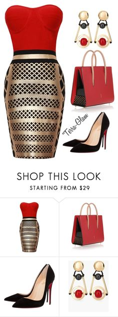 """""""Really Red"""" by terra-glam ❤ liked on Polyvore featuring Christian Louboutin and Chico's"""