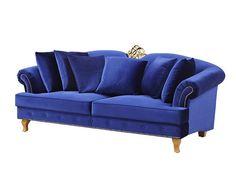 Serie: Mansion DreamsProduktnavn: La Roche Sofa 3S blå m gull nagler Prodnr: 106733Ytremål: B: 215 D: 90 H: 90