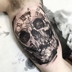 Skull Clock -  Skull Tattoo - Black Tattoo - Tattoo Artist - Tattoo - Clock Tattoo