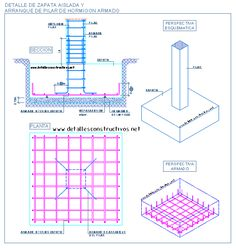 Concrete spread footing under a single column Concrete Retaining Walls, Concrete Column, Concrete Structure, Building Structure, Civil Engineering Design, Civil Engineering Construction, Eco Deco, Structural Drawing, Framing Construction
