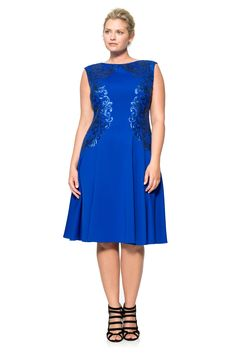 Neoprene and Paillette Embroidered Lace Boatneck A-Line Dress - PLUS SIZE   Tadashi Shoji
